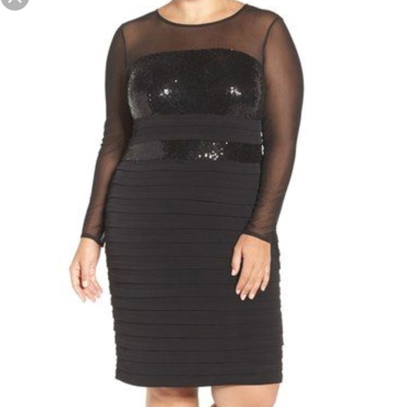 London Times Plus Size Black Illusion Sequin Dress